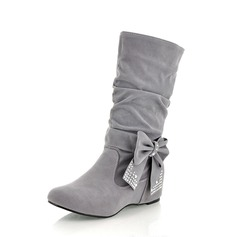 Women's Suede Flat Heel Boots Mid-Calf Boots With Bowknot shoes