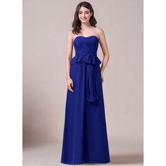 A-Line/Princess Sweetheart Floor-Length Chiffon Bridesmaid Dress With Bow(s) Cascading Ruffles