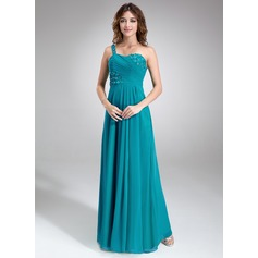 A-Line/Princess One-Shoulder Floor-Length Chiffon Bridesmaid Dress With Ruffle Beading Flower(s)