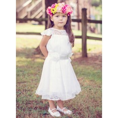 A-Line/Princess Tea-length Flower Girl Dress - Lace/30D Chiffon Short Sleeves Scoop Neck With Sash/Flower(s)