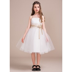 A-Line/Princess Square Neckline Knee-Length Tulle Junior Bridesmaid Dress With Lace Appliques Lace Bow(s)