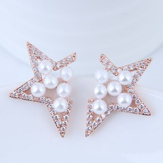 Elegant Pearl/Copper/Zircon Ladies' Earrings