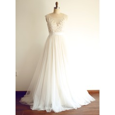 A-Line Illusion Sweep Train Tulle Wedding Dress With Beading Appliques Lace Sequins