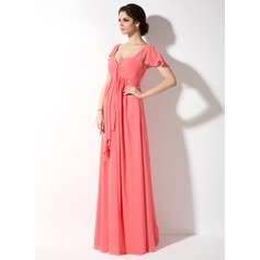 Empire Sweetheart Floor-Length Chiffon Maternity Bridesmaid Dress With Cascading Ruffles (045022461)