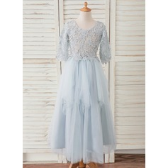 A-Line Ankle-length Flower Girl Dress - Tulle/Lace 3/4 Sleeves Scoop Neck With Beading