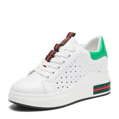 Women's leatherette With Lace-up Hollow-out Sneakers