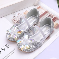 Jentas Round Toe Lukket Tå Leather Sparkling Glitter flat Heel Flate sko Flower Girl Shoes med Velcro Crystal