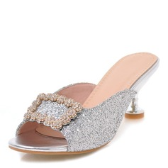 Women's Sparkling Glitter Stiletto Heel Sandals Pumps Peep Toe Slingbacks With Rhinestone Buckle shoes (087168449)