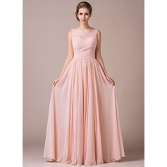 Chiffon Lace A-Line Floor-length Bridesmaid Dress (007057702)