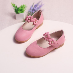 Girl's Closed Toe Leatherette Flat Heel Flower Girl Shoes With Velcro Flower