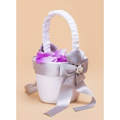 Satin With Imitation Pearls/Bow Flower Basket