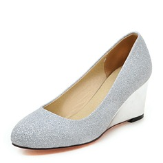 Women's Sparkling Glitter Wedge Heel Pumps Closed Toe Wedges With Others shoes (085171180)
