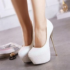 Women's Sparkling Glitter Stiletto Heel Pumps Platform Closed Toe shoes (085118938)
