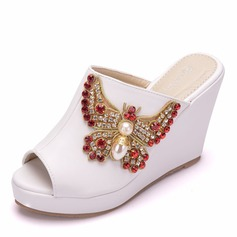 Women's Leatherette Wedge Heel Peep Toe Sandals Wedges