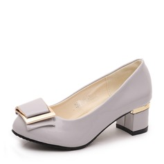 Women's PU Chunky Heel Closed Toe With Bowknot shoes