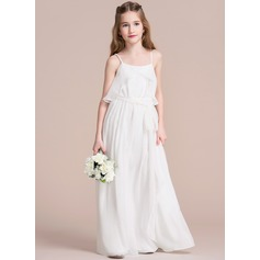 A-Line/Princess Scoop Neck Floor-Length Chiffon Junior Bridesmaid Dress With Ruffle Bow(s)