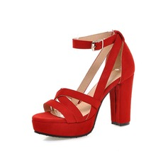 Women's Suede Chunky Heel Sandals Pumps Platform Peep Toe shoes (087094317)