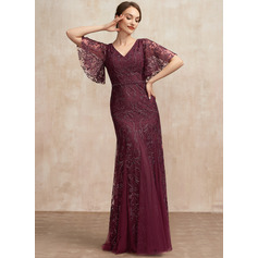 Trumpet/Mermaid V-neck Floor-Length Tulle Lace Evening Dress With Beading Sequins