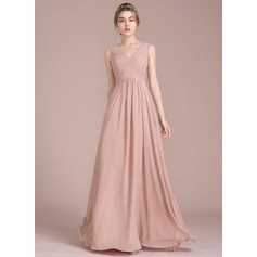 V-neck Floor-Length Chiffon Bridesmaid Dress With Ruffle (266195864)