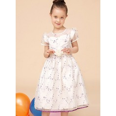 A-Line/Princess Tea-length Flower Girl Dress - Tribute silk/CVC Short Sleeves Scoop Neck With Sash/Flower(s)