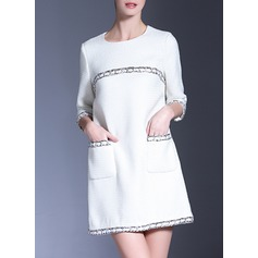 Jacquard With Stitching Above Knee Dress (199132253)