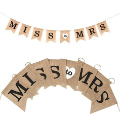 Miss to Mrs Bright Hemp Rope/Linen Banner