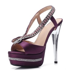 Women's Leatherette Spool Heel Peep Toe Pumps With Crystal