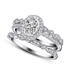 Halo Stackable Round Cut 925 Silver Bridal Sets (304255784)