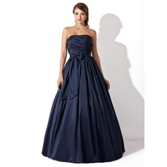 Ball-Gown Strapless Floor-Length Taffeta Prom Dress With Ruffle Bow(s)