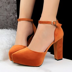 Women's Suede Wedge Heel Pumps Platform Closed Toe With Braided Strap shoes (085114807)