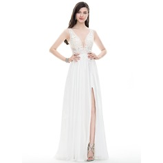A-Line/Princess V-neck Floor-Length Satin Chiffon Prom Dresses With Beading Sequins