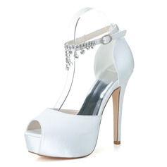 Women's Satin Stiletto Heel Peep Toe Platform Pumps Sandals With Rhinestone (047115952)