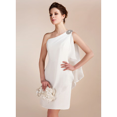 Sheath/Column One-Shoulder Short/Mini Chiffon Wedding Dress With Beading Cascading Ruffles (265193161)