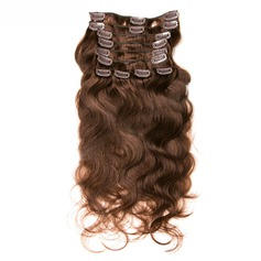 4A Non remy Body Human Hair Clip in Hair Extensions 10PCS 100g