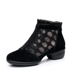 Women's Real Leather Lace Mesh Sneakers Dance Boots Dance Shoes