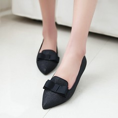 Women's Suede Flat Heel Flats Platform With Bowknot shoes