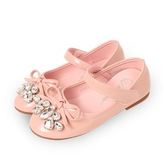 Girl's Leatherette Flat Heel Round Toe Closed Toe Flats With Bowknot Velcro Crystal