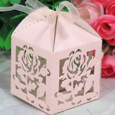 Rose Design Cubic Favor Boxes With Ribbons