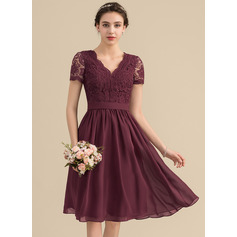 V-neck Knee-Length Chiffon Lace Bridesmaid Dress (266213462)