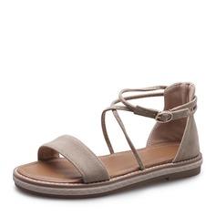 Kvinner Semsket Flat Hæl Sandaler Flate sko Titte Tå med Blondér sko (087156506)