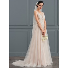 A-Line/Princess Scoop Neck Sweep Train Tulle Wedding Dress