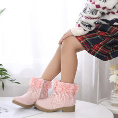 Girl's Round Toe Ankle Boots Lace Leatherette Chunky Heel Boots With Imitation Pearl Stitching Lace Flower Zipper Embroidery