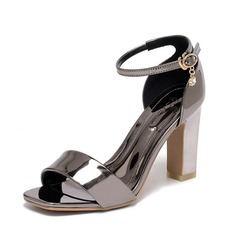 Women's Leatherette Chunky Heel Sandals Peep Toe shoes