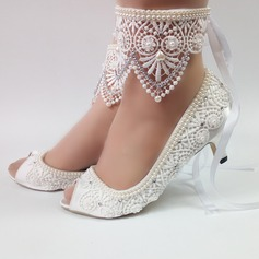 Leatherette Stiletto Heel Peep Toe With Beading Stitching Lace