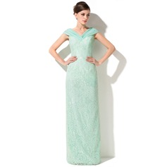 Sheath/Column Off-the-Shoulder Floor-Length Lace Mother of the Bride Dress With Ruffle