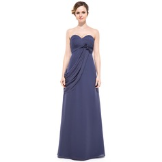 Empire Sweetheart Floor-Length Chiffon Evening Dress With Ruffle Beading Flower(s)