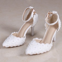 Women's Leatherette Stiletto Heel Closed Toe Pumps Sandals With Flower Braided Strap