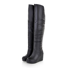 Women's Leatherette Wedge Heel Knee High Boots With Ruched shoes (088097403)