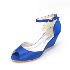 Women's Satin Wedge Heel Peep Toe Pumps Wedges With Buckle