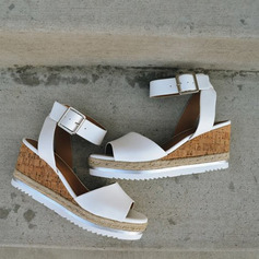 PU Wedge Heel Sandals Wedges Peep Toe With Buckle shoes